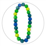 A lovely lightweight wooden necklace in shades of green and blue