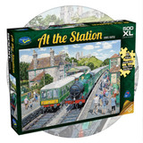 500 piece puzzle with extra large pieces - At the Station - Trains and Castle in the background