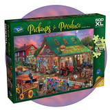 500 extra large piece puzzle with antique barn, farming machine and animals