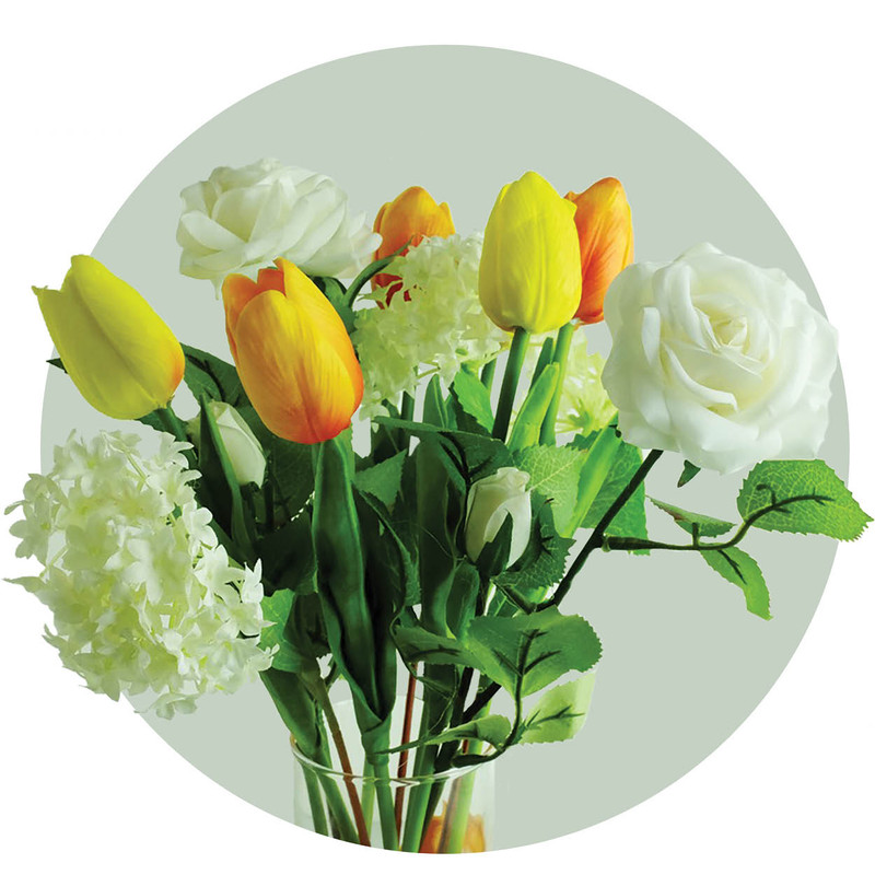 Beautiful arrangement of tulips and roses make a nice gift for someone with memory loss or dementia