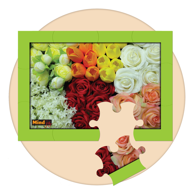 Beautiful flowers 12 piece  jigsaw puzzle. a great activity for person with memory loss or dementia