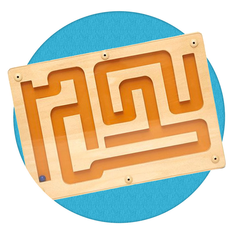 Hand held Track Maze for hand-eye coordination and dexterity.