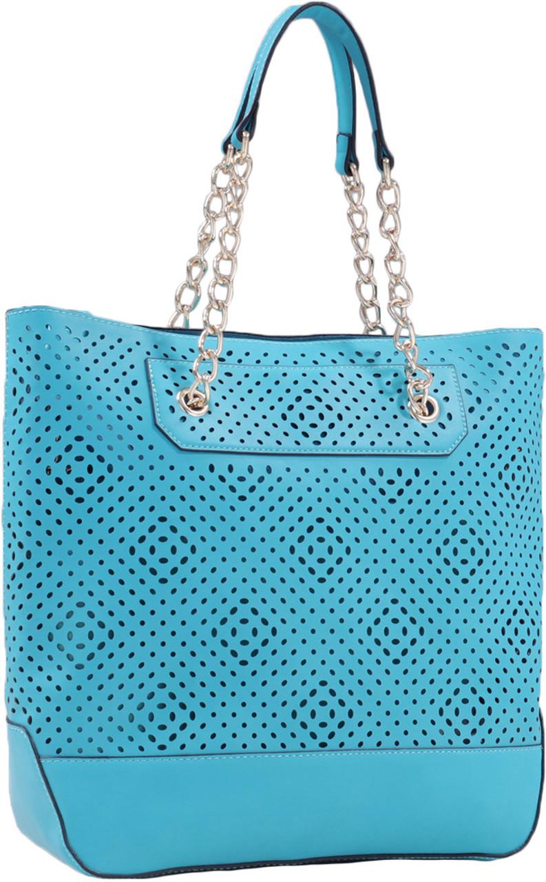 Front Diamond Perforated Soft Faux Leather Fashion Handbag Shop Tote Purse