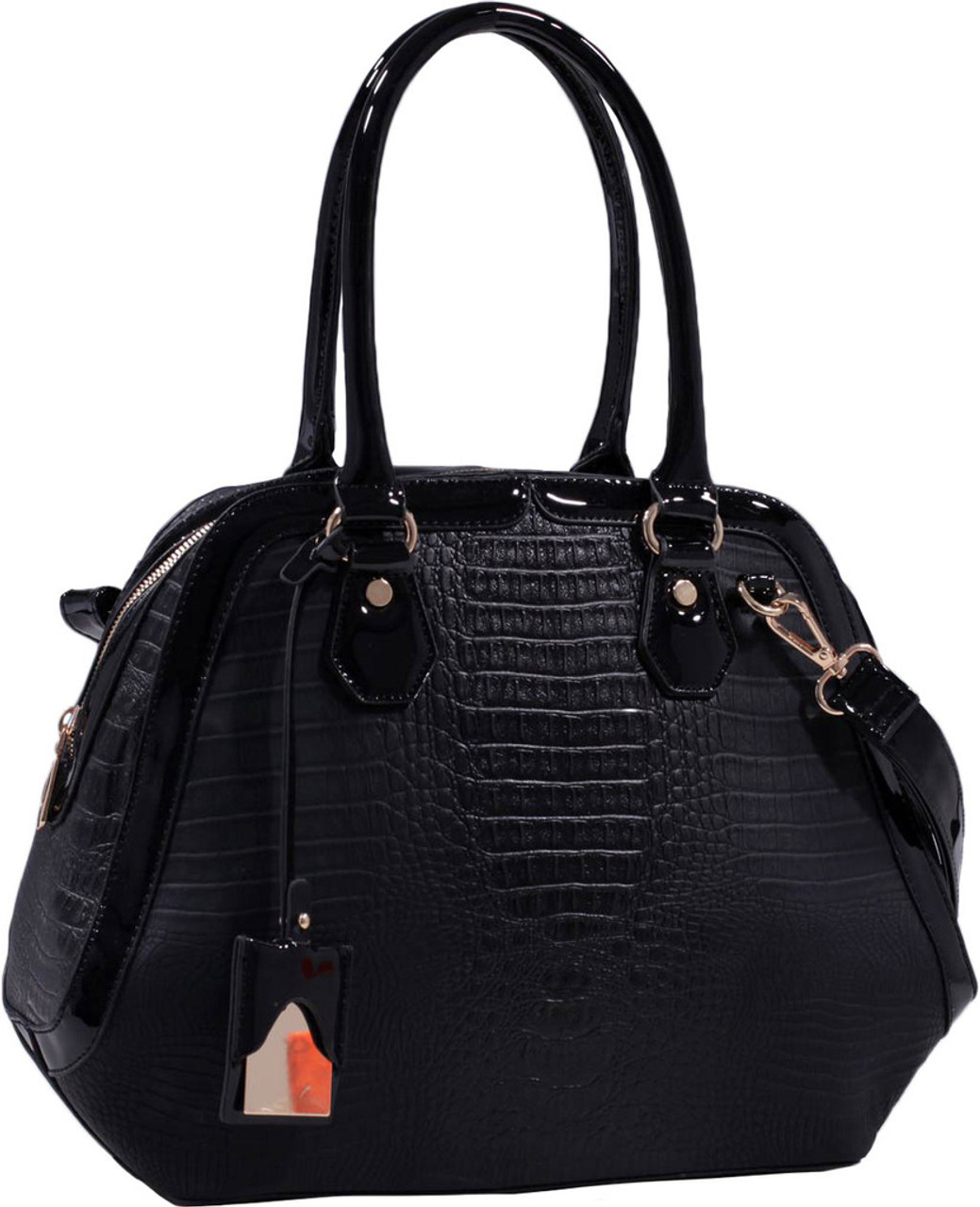 c0c1fbf59a2 Black Alligator Vegan Leather Shoulder Bag Purse Handbag - Purses.com