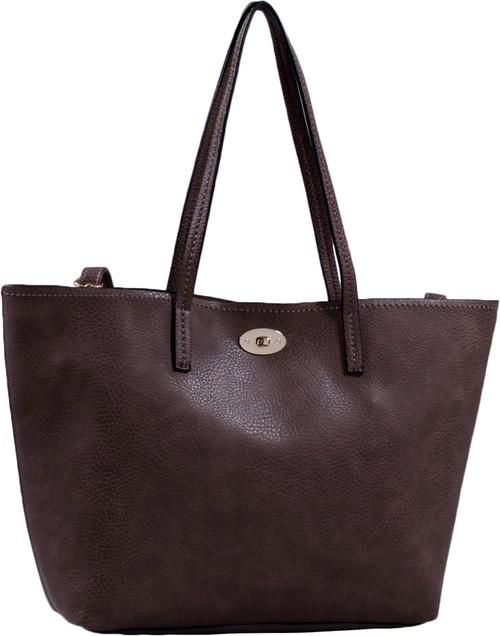 6420c967c9f3 Coffee Classic Soft Faux Leather Celebrity Fashion Tote Handbag Purse