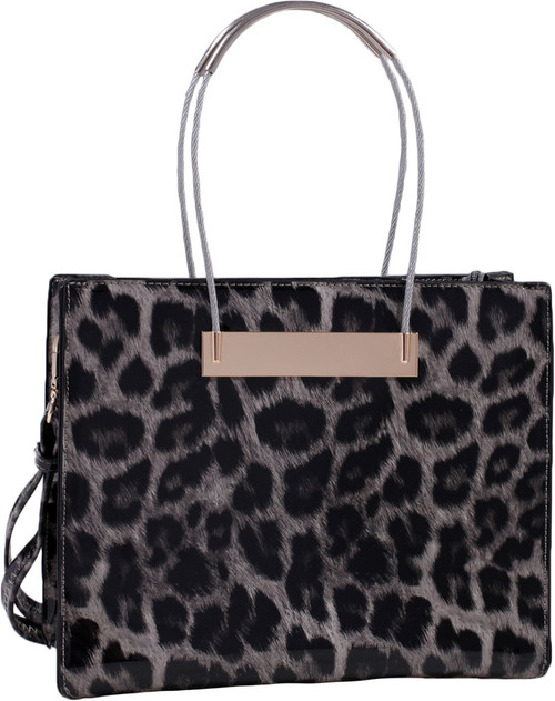 02b0a09850f6 Gray Leopard Print Soft Faux Leather Designer Tote Shop Handbag Purse