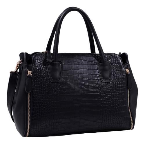 d0df5f908 Black Alligator Print Soft Faux Leather Designer Tote Shop Handbag Shoulder  Bag Purse