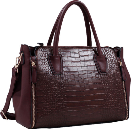 acf9c564ff7c Coffee Alligator Print Soft Faux Leather Designer Tote Shop Handbag  Shoulder Bag Purse