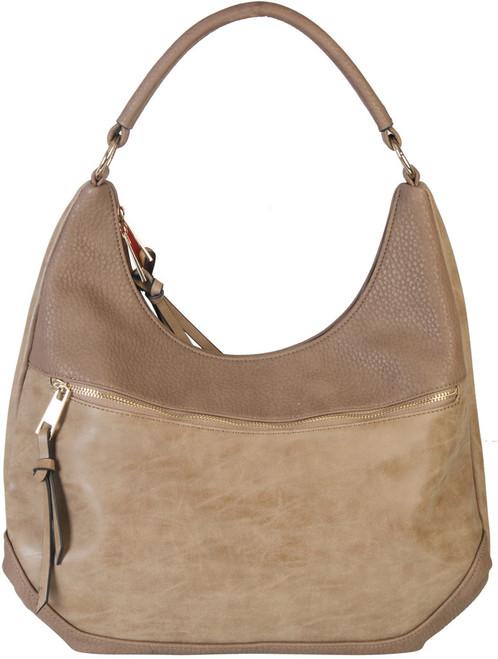 Khaki Contrast Fade Wash Soft Faux Leather Shoulder Fashion Handbag hobo  Purse 28da2872734c8