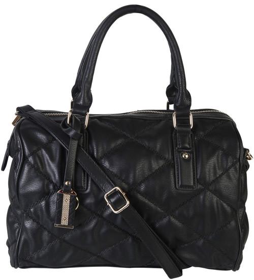 4a0866f48 Black Quilt Pattern Soft Faux Leather Shop Tote Shoulder Bag Handbag Purse