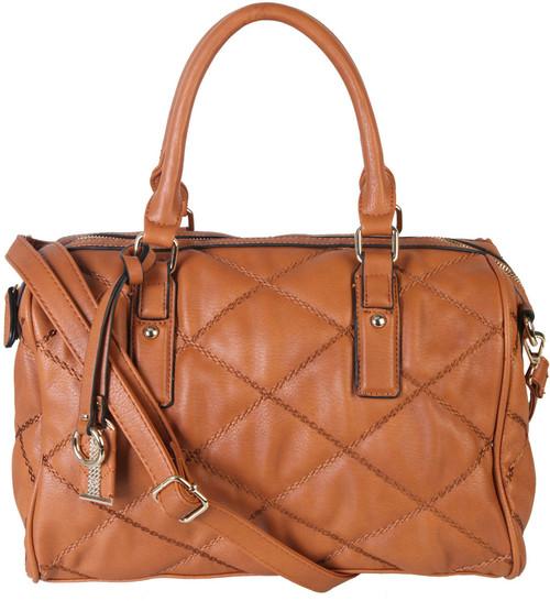 de85a838c Brown Quilt Pattern Soft Faux Leather Shop Tote Shoulder Bag Handbag Purse