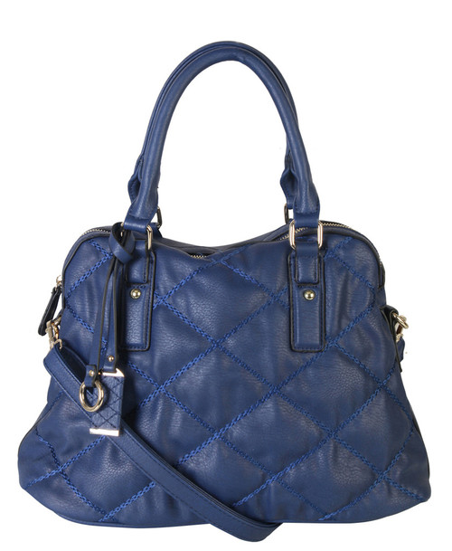 2ecdf492b Navy Quilt Pattern Soft Faux Leather Shop Tote Shoulder Bag Handbag Purse