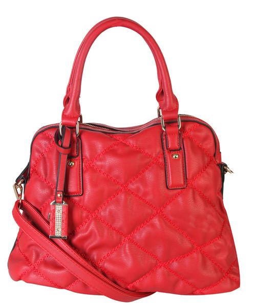 d0563af67 Red Quilt Pattern Soft Faux Leather Shop Tote Shoulder Bag Handbag Purse