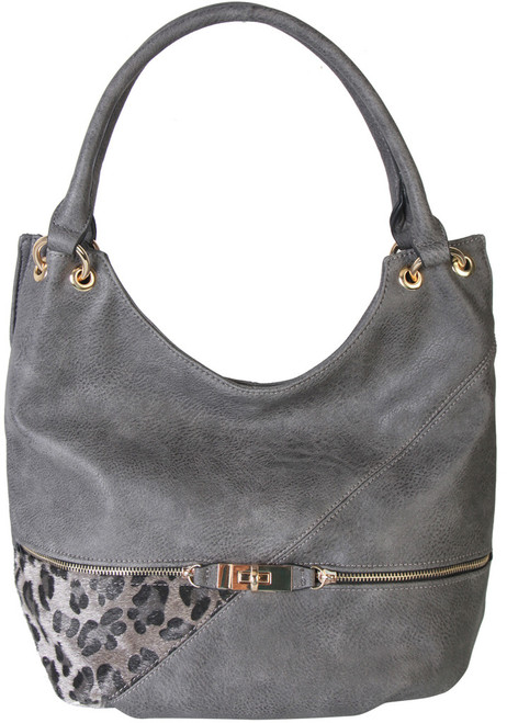 Gray Faux Leather Patch of Leopard Print Shoulder Bag Hobo Purse Handbag 4582d5a9a1f4b