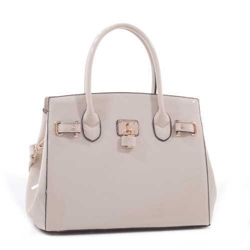 67ad2366aa2e Alyssa Patent Faux Leather Designer Inspired Tote Padlock Style Hand Bag