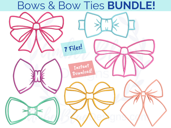 Bows and Bow Ties Outline Bundle