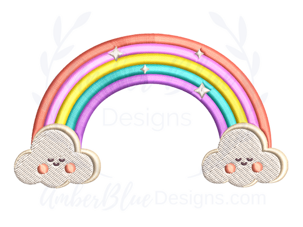 Cute Rainbow with Happy Clouds