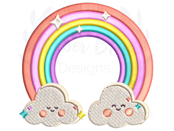 Cute Circle Rainbow with Happy Clouds