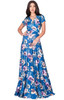 KOH KOH Long Floral Printed Short Sleeve V-Neck Maxi Dress Gown - NT074_B033