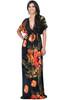 Long Sexy V-neck Kimono Short Sleeve Floral Print Maxi Dress - NT069