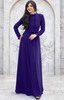 KOH KOH Long Sleeve Ruffle Neck Tie Waist Winter Evening Maxi Dress - NT353