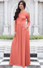 ELEONORE - Long Sleeve Cold Shoulder A-line Sundress Maxi Dress Gown - NT372