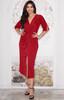 KOH KOH Womens Short Sleeve Sexy V-Neck High Slit Midi Dress - NT290S
