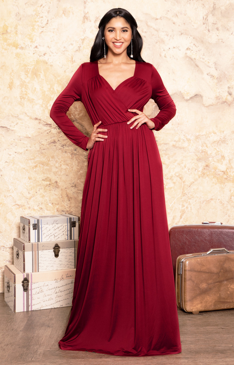 5df02d9a446c08 Long Sleeve Dressy V-Neck Semi Formal Evening Maxi Dress Gown - GMD001