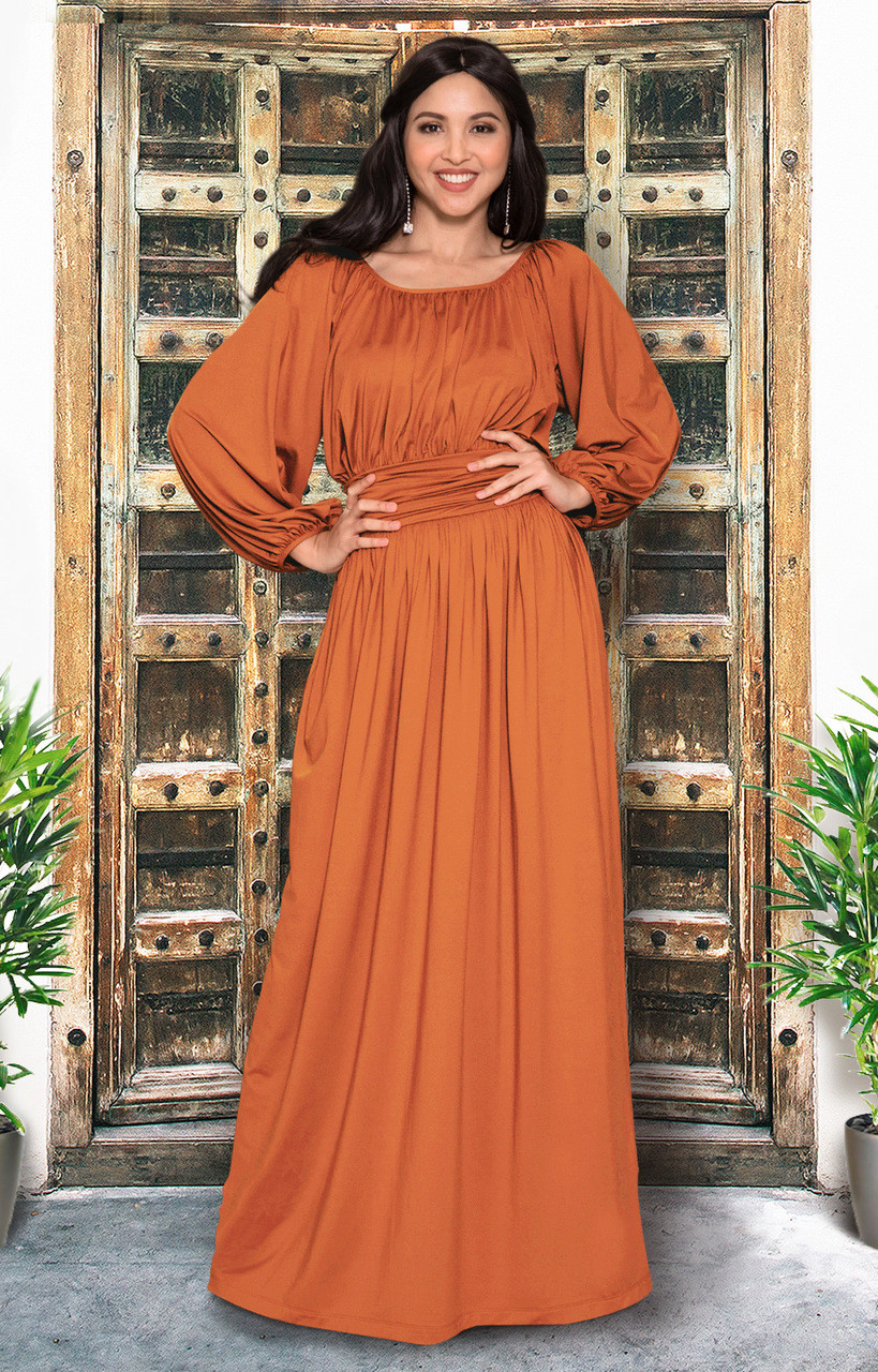 Long Peasant Casual Pleated Fall 3 4 Sleeve Maxi Dress Gown Nt103