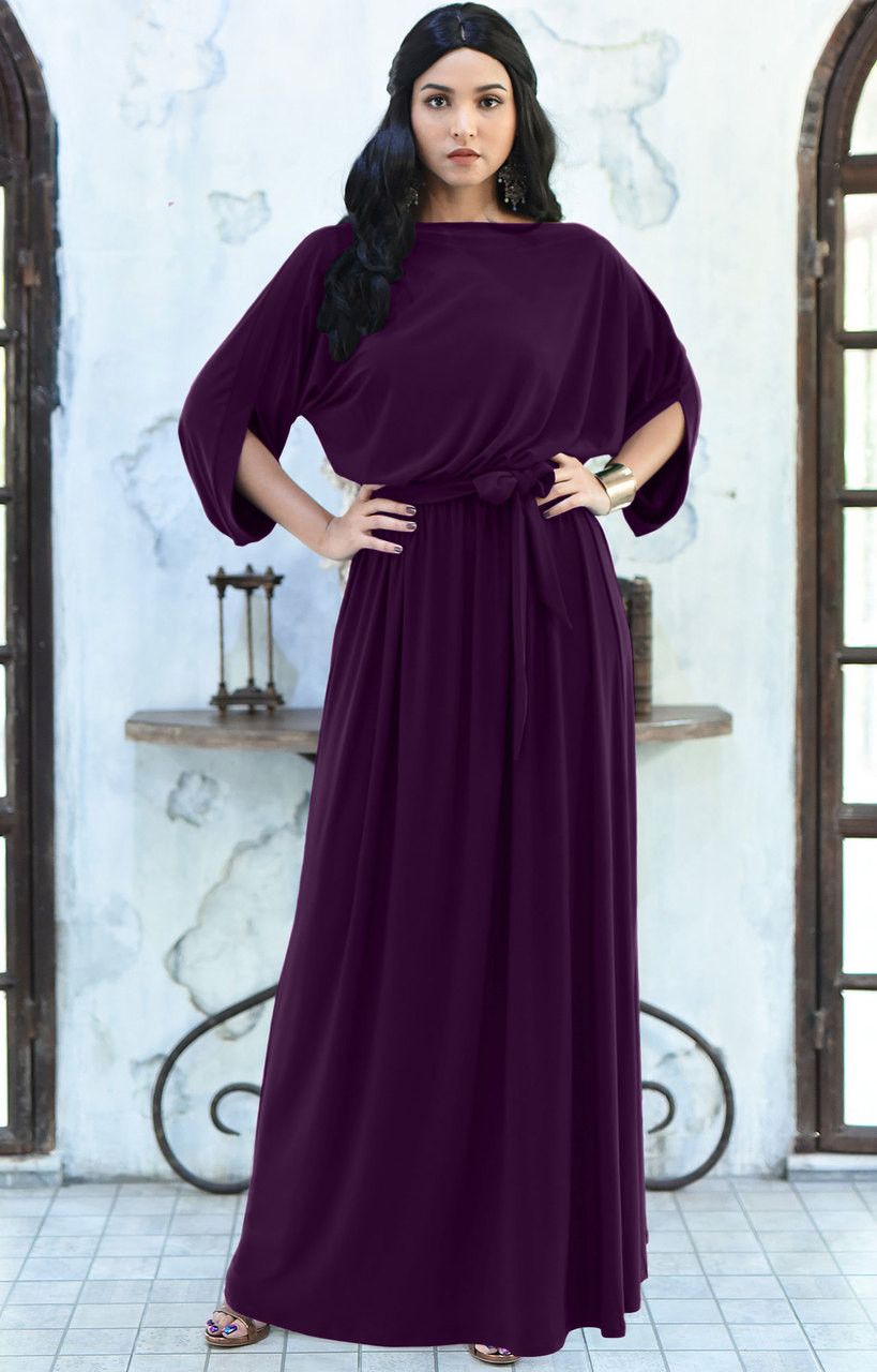 bf8a82d4645bb Casual Long Flowy Short 3/4 Sleeve Modest Maxi Dress Gown - NT167
