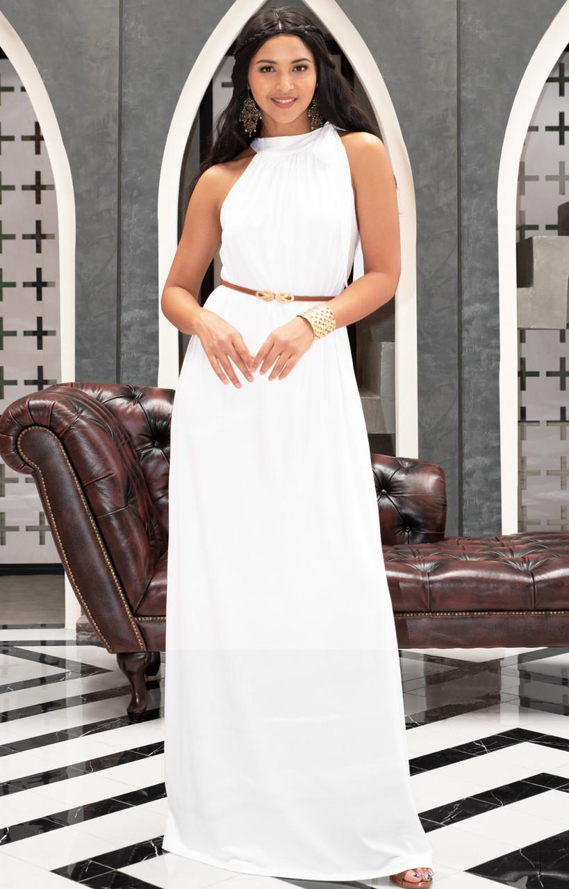 ef28e5118fa KOH KOH Sleeveless Summer Flowy Belted Maxi Dress - NT244 - KOH KOH ...