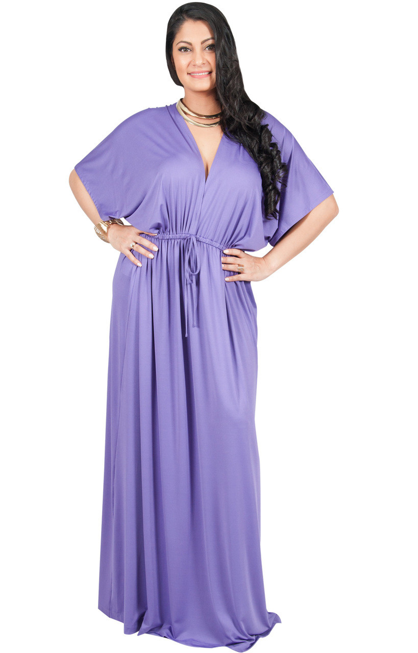 73986aff9439 A&V Plus Size V-Neck Kimono Sleeve Maxi Dress - AV002 - KOH KOH ...