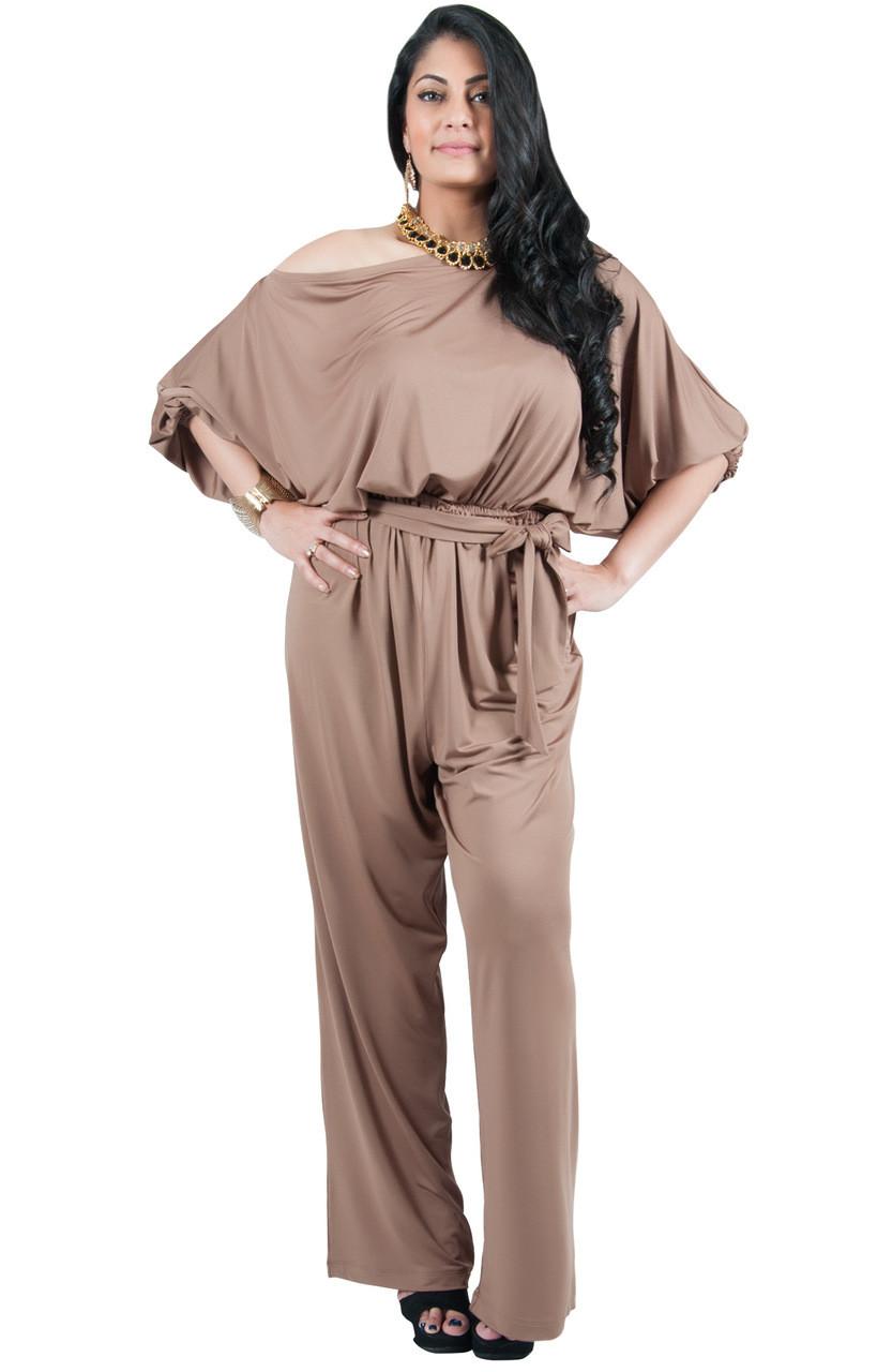 1e62a11ea10 A V Plus Size One Shoulder Evening Jumpsuit - AV003 - KOH KOH ...