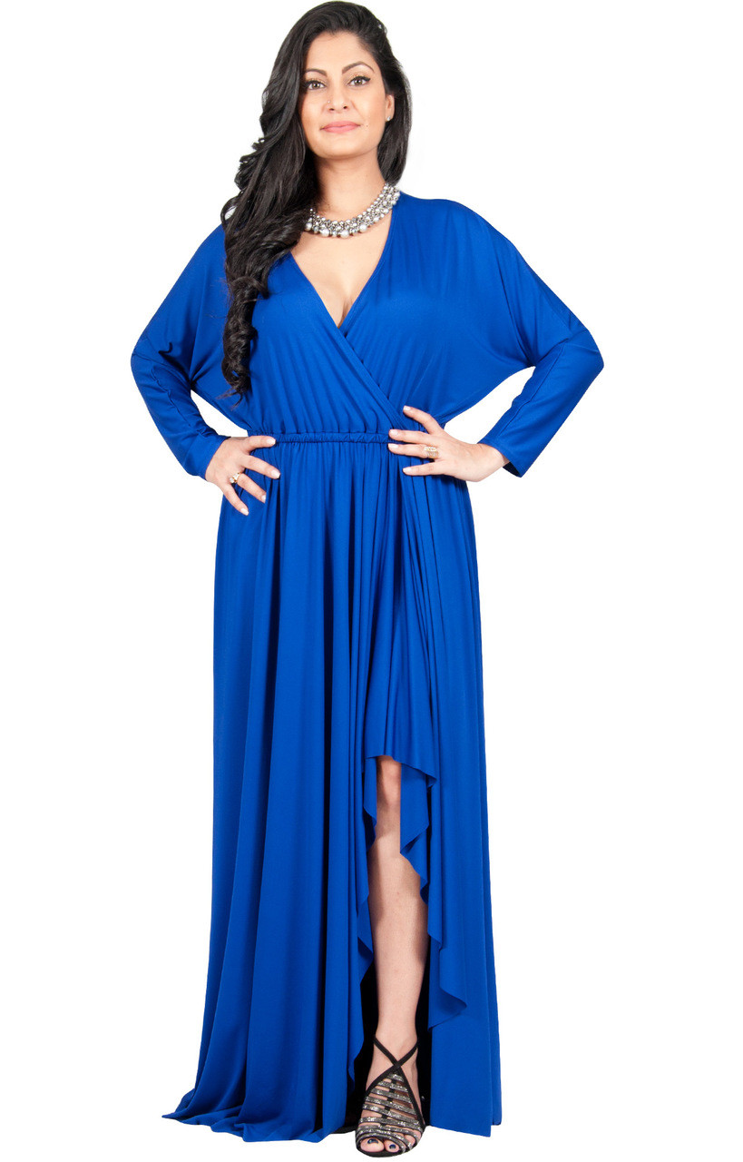 A&V Plus Size Long Sleeve V-Neck Maxi Dress - AV060