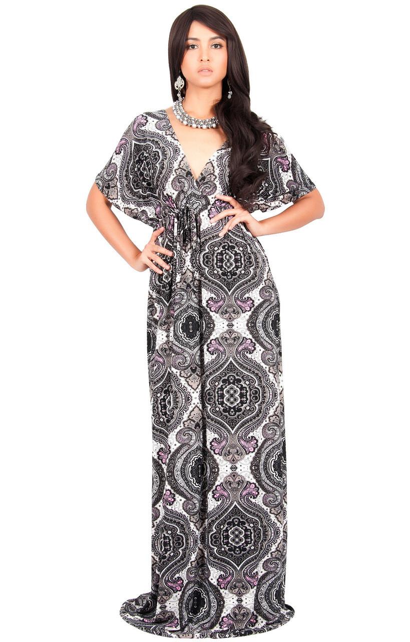 7709ea5899 KOH KOH Kimono Sleeve V-Neck Printed Maxi Dress - DAN001_A034 - KOH ...