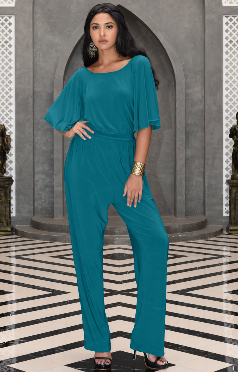 84acc78a2a458 Dressy Long Pantsuit Short Sleeve Casual One piece Jumpsuit - NT163 ...