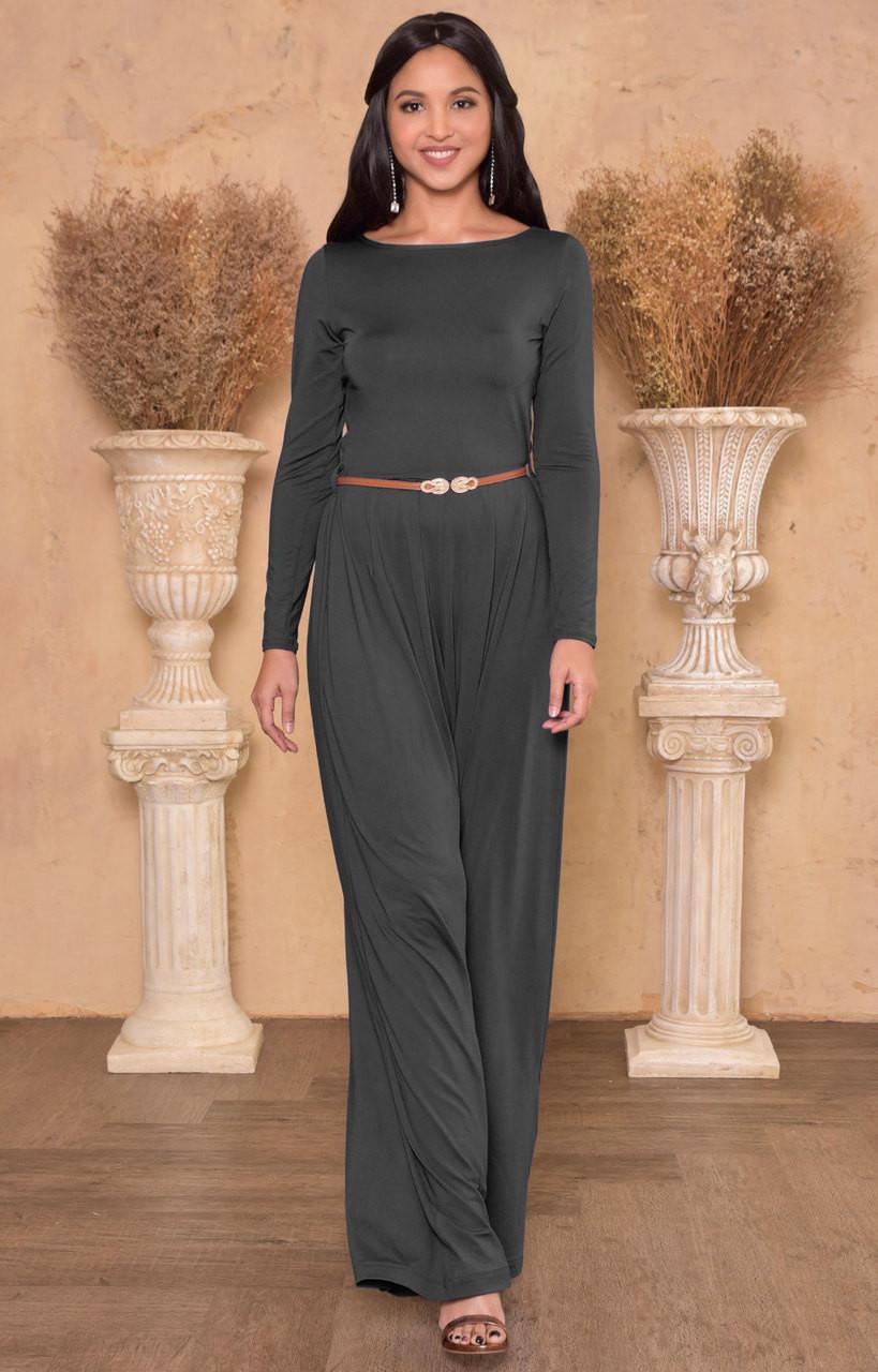 117522e2678b Long Sleeve Dressy Elegant Wide Leg Fall Jumpsuit Romper Outfit - NT175