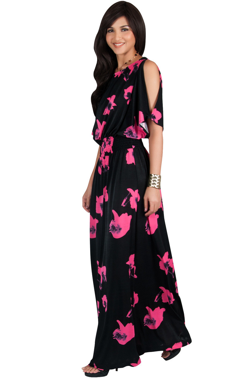 7bd5ae740927 KOH KOH Split Sleeve Floral Print Sun Maxi Dress - NT075 A022 - KOH ...
