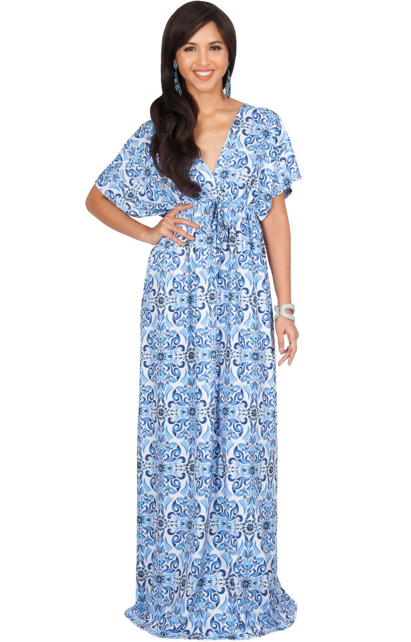 KOH KOH Kimono Deep V-Neck Printed Maxi Dress - DAN001 B006 - KOH ... dd3999736