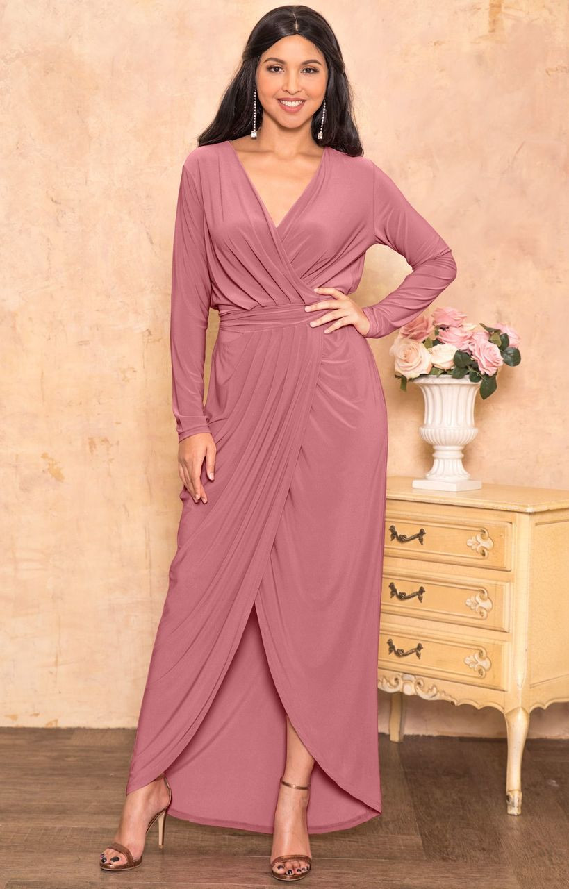 68aeacef081 Long Sleeve Elegant Evening Fall Sexy Slit Maxi Dress Gown - NT292 ...