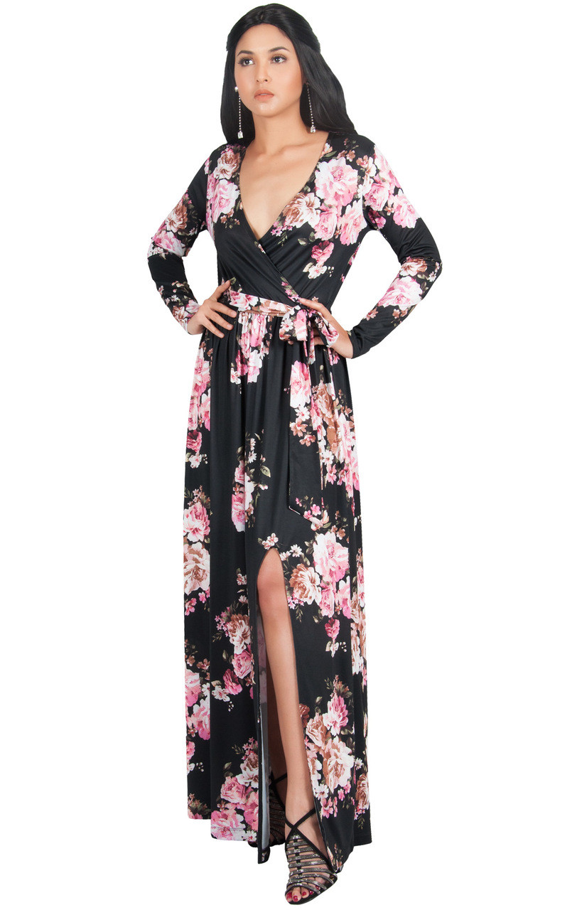 KOH KOH Long Sleeve Floral Print Maxi Dress Gown - NT176 B105 - KOH ... a0dcb42dd