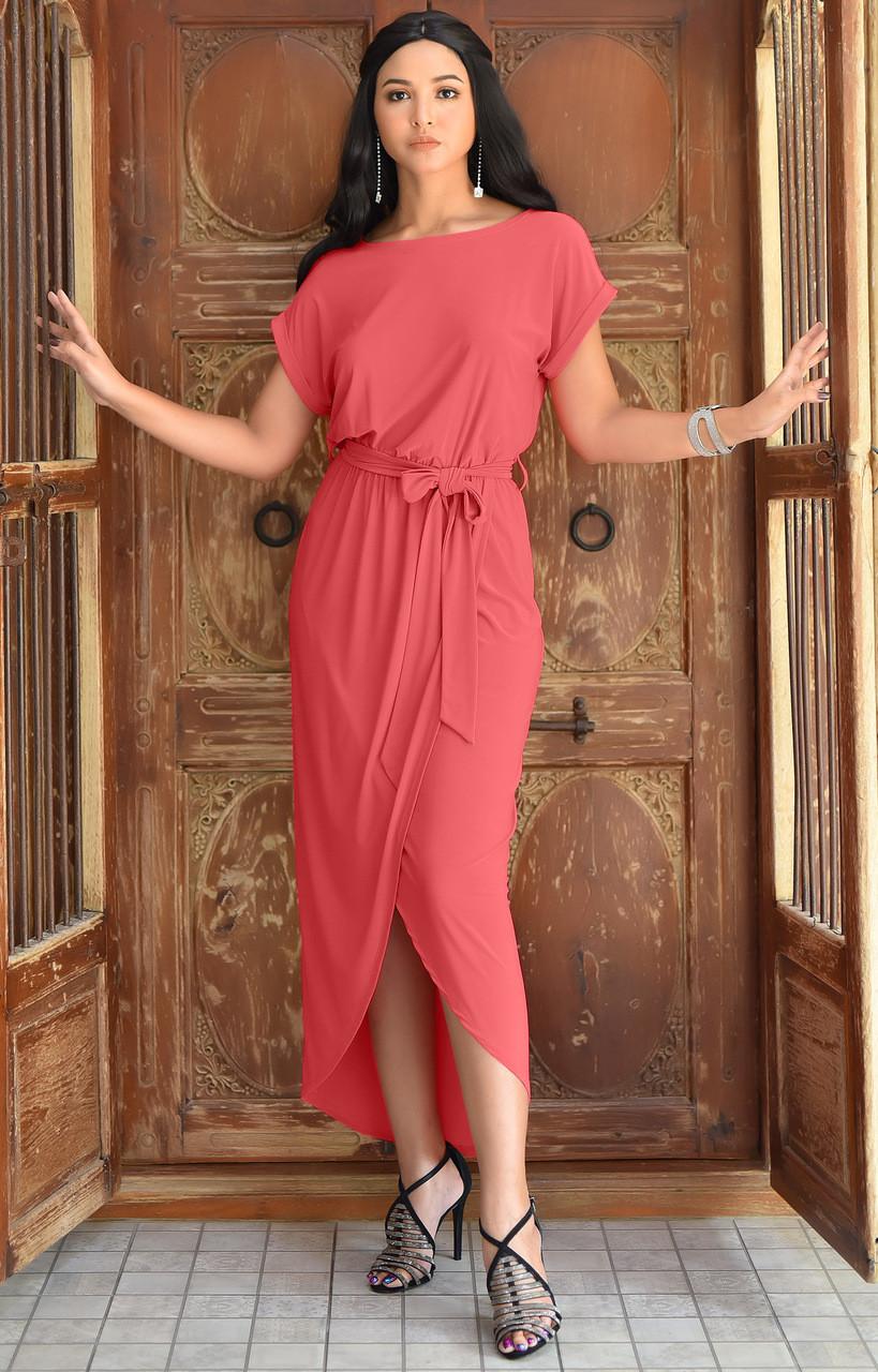 76d0f79aa1ab KOH KOH Hi Low Casual Short Sleeve Midi Maxi Dress - NT322 - KOH KOH ...
