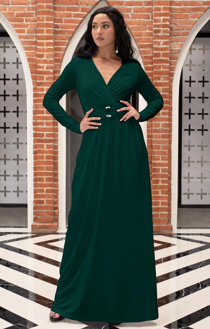 Koh Koh Long Sleeve Flowy Casual Maxi Dress Gown Nt311 Koh Koh