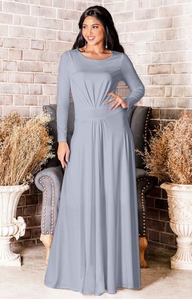 Long Sleeve Flowy Modest Empire Waist Maxi Dress Gown Abaya - NT009