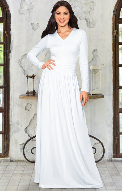 Long Sleeve Modest Fall V-Neck Dressy Maxi Dress Gown Abaya - NT272