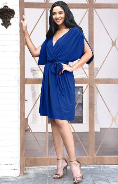 KOH KOH Short Sleeve V-Neck Pleated Midi Dress - NT241