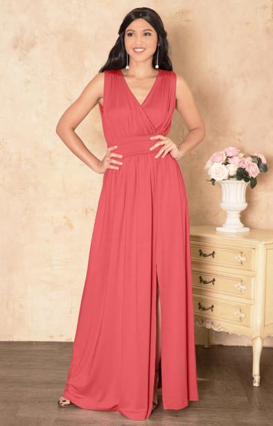 KOH KOH Long Sleeveless Bridesmaid Maxi Dress Gown - NT304