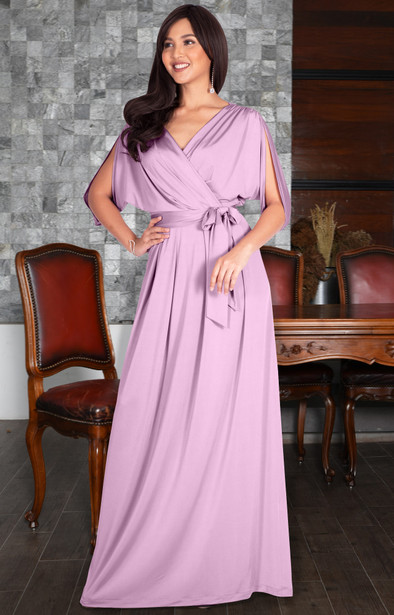 Long Flowy Tall Wedding Short Sleeve Cocktail Maxi Dress Gown - NT026C