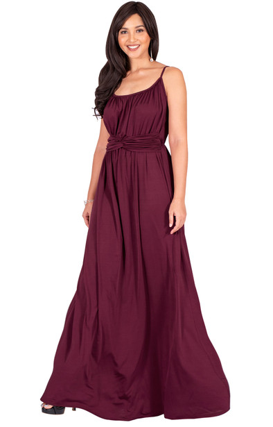 Elegant Sleeveless V Neck Flowy Evening Spring Belt Maxi Dress - NT327