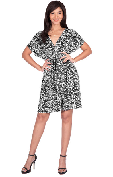 Sexy V-neck Caftan Kaftan Print Summer Casual Mini Dress - JK002_A015